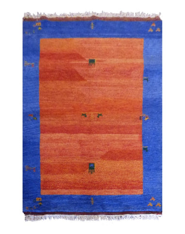 "INDIAN CONTEMPORARY HAND-KNOTTED RUG MADE WITH NATURAL WOOL & COTTON COLOR RED 6'6"" X 4'9"" ABC2251"