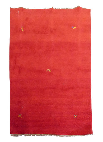 "INDIAN TRADITIONAL HAND-KNOTTED RUG MADE WITH NATURAL WOOL & COTTON COLOR RED 6'6"" X 4'7"" ABC2649"