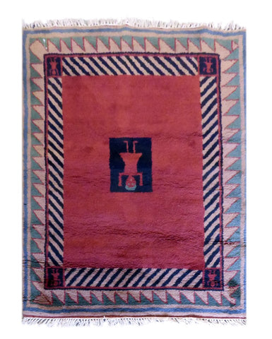 "NEPALI GABBEH HAND-KNOTTED GABBEH MADE WITH NATURAL WOOL & COTTON COLOR PEACH 5'6"" X 4'7 ABC2791"