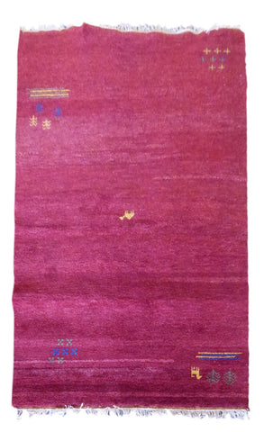 "INDIAN CONTEMPORARY HAND-KNOTTED RUG MADE WITH NATURAL WOOL & COTTON COLOR BURGUNDY 6'5"" X 4'6"" ABC2245"