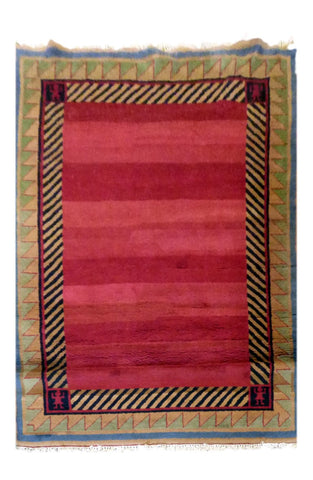 INDIAN GABBEH CONTEMPORARY HAND-KNOTTED RUG MADE WITH NATURAL WOOL & COTTON COLOR RED 8' X 6' ABC2290