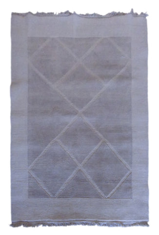 "INDIAN CONTEMPORARY HAND-KNOTTED RUG MADE WITH NATURAL WOOL & COTTON COLOR BEIGE 5'11"" X 4'11"" ABC2300"