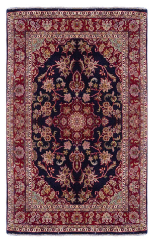 "INDIAN TRADITIONAL HAND-KNOTTED RUG MADE WITH NATURAL WOOL & COTTON COLOR BLUE 6'6"" X 4'8"" ABC2355"
