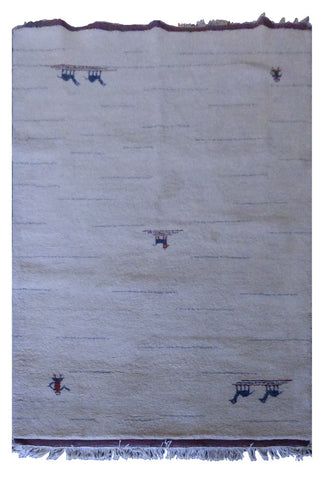 "INDIAN CONTEMPORARY HAND-KNOTTED RUG MADE WITH NATURAL WOOL & COTTON COLOR NATURAL 6'3"" X 4'5"" ABC2256"