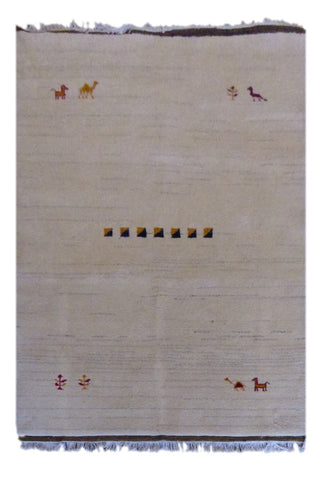 "INDIAN CONTEMPORARY HAND-KNOTTED RUG MADE WITH NATURAL WOOL & COTTON COLOR NATURAL 6'6"" X 4'6"" ABC2246"