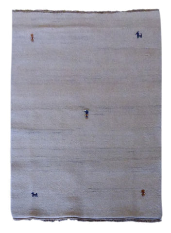 "INDIAN CONTEMPORARY HAND-KNOTTED RUG MADE WITH NATURAL WOOL & COTTON COLOR BEIGE 6'6"" X 4'7"" ABC2605"