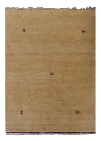 "INDIAN CONTEMPORARY HAND-KNOTTED RUG MADE WITH NATURAL WOOL & COTTON COLOR BEIGE 6'7"" X 4'7"" ABC2607"