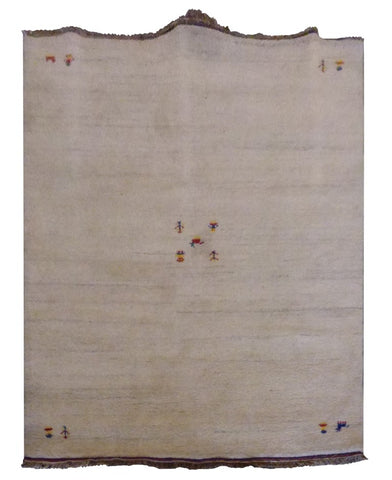 "INDIAN TRADITIONAL HAND-KNOTTED RUG MADE WITH NATURAL WOOL & COTTON COLOR BEIGE 6'6"" X 4'8"" ABC2629"