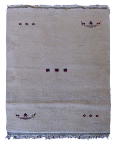 "INDIAN CONTEMPORARY HAND-KNOTTED RUG MADE WITH NATURAL WOOL & COTTON COLOR NATURAL 6'3"" X 4'2"" ABC2249"