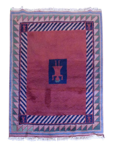 "NEPALI GABBEH HAND-KNOTTED GABBEH MADE WITH NATURAL WOOL & COTTON COLOR PEACH 5'6"" X 4'7"" ABC3077"