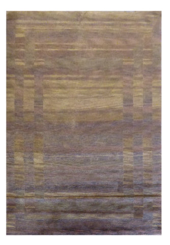 INDIAN MODERN HAND-KNOTTED RUG MADE WITH NATURAL WOOL & COTTON COLOR MULTI 8' X 5' ABC1094