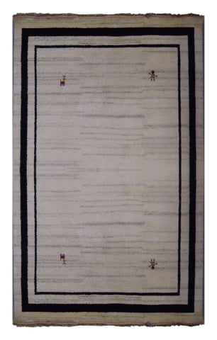 "INDIAN TRADITIONAL HAND-KNOTTED RUG MADE WITH NATURAL WOOL & COTTON COLOR BEIGE 7'9"" X 5'7"" ABC2625"