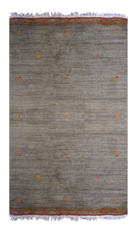 "INDIAN CONTEMPORARY HAND-KNOTTED RUG MADE WITH NATURAL WOOL & COTTON COLOR GREEN 7'11"" X 5'6"" ABC2260"