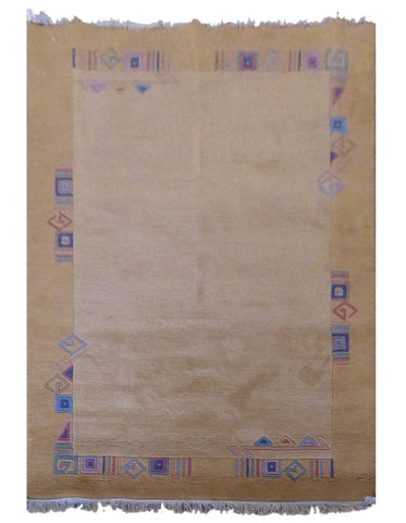 "INDIAN CONTEMPORARY HAND-KNOTTED RUG MADE WITH NATURAL WOOL & COTTON COLOR GOLD 8' X 5'9"" ABC2301"