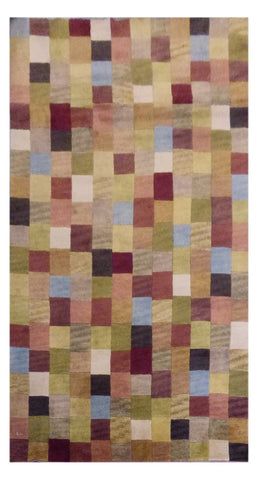 INDIAN MODERN HAND-KNOTTED RUG MADE WITH NATURAL WOOL & COTTON COLOR MULTI 8' X 5' ABC1132