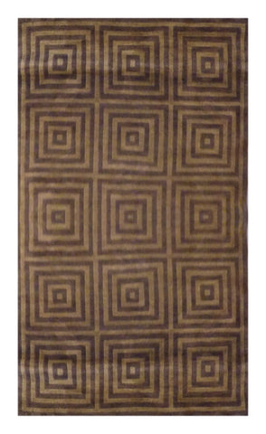 "INDIAN MODERN HAND-KNOTTED RUG MADE WITH NATURAL WOOL & COTTON COLOR CAMEL 7'10"" X 5' ABC504"