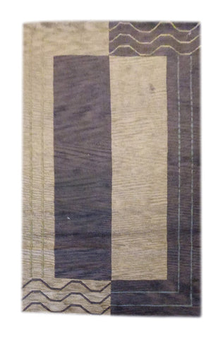 INDIAN MODERN HAND-KNOTTED RUG MADE WITH NATURAL WOOL & COTTON COLOR BEIGE 8' X 5' ABC1112