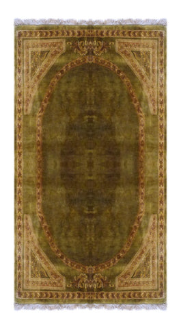 "INDIAN TRADITIONAL HAND-KNOTTED RUG MADE WITH NATURAL WOOL & COTTON COLOR GREEN 8' X 5'6"" ABC2313"