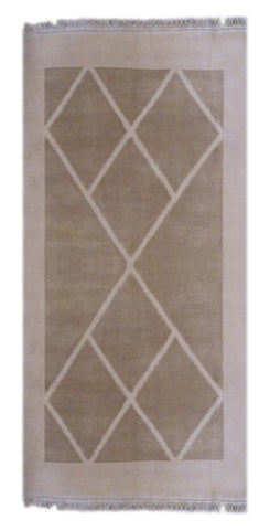 "INDIAN CONTEMPORARY HAND-KNOTTED RUG MADE WITH NATURAL WOOL & COTTON COLOR BEIGE 6'3"" X 5' ABC2299"