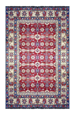 "PAKISTANI KAZAK HAND-KNOTTED RUG MADE WITH NATURAL WOOL & COTTON COLOR RED 8'10"" X 11'7"" ABC 1"