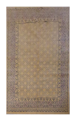 "PAKISTANI TRADITIONAL HAND-KNOTTED RUG MADE WITH NATURAL WOOL & COTTON COLOR MULTI 9'4"" X 6'10"" ABC 4503"