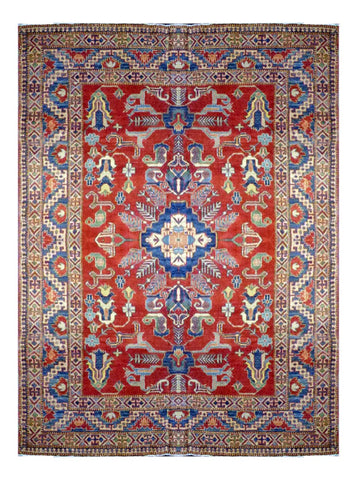 "PAKISTANI TRADITIONAL HAND-KNOTTED RUG MADE WITH NATURAL WOOL & COTTON COLOR MULTI 9'2"" X 6'7"" ABC 4542"