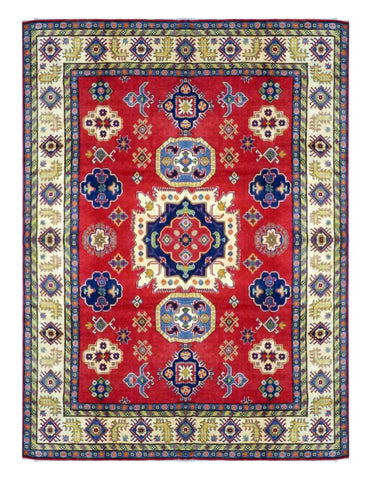 "PAKISTANI KAZAK HAND-KNOTTED RUG MADE WITH NATURAL WOOL & COTTON COLOR RED/BLUE 12' X 9'2"" ABC 8638"