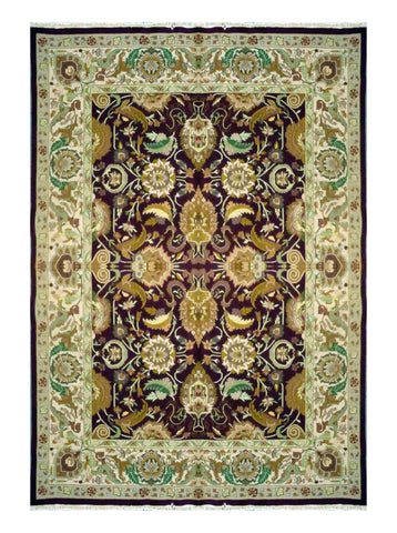 "TURKISH TRANSITIONAL HAND-KNOTTED RUG MADE WITH NATURAL WOOL & COTTON COLOR MULTI 9'9"" X 7'9"" ABC 752"