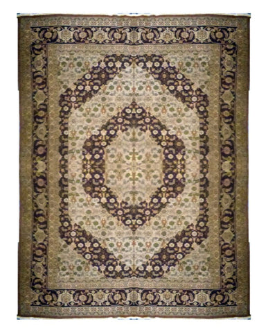 "TURKISH TRANSITIONAL HAND-KNOTTED RUG MADE WITH NATURAL WOOL & COTTON COLOR MULTI 9'9"" X 7'9"" ABC 753"