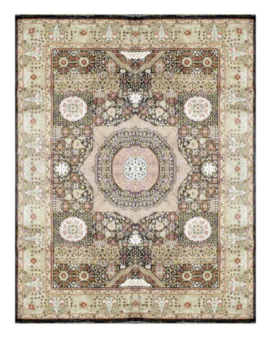 "PAKISTANI TRANSITIONAL HAND-KNOTTED RUG MADE WITH NATURAL WOOL & COTTON COLOR ANTIQUE WASH 11'08"" X 9'01"" ABC 1819"