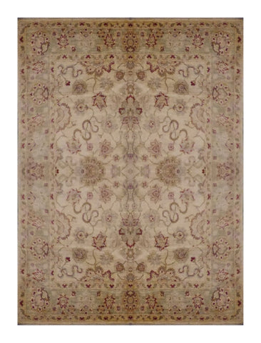 "PAKISTANI TRANSITIONAL HAND-KNOTTED RUG MADE WITH NATURAL WOOL & COTTON COLOR ANTIQUE WASH 8'6"" X 6'3"" ABC 1809"