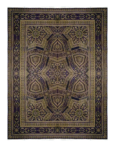 "TURKISH TRANSITIONAL HAND-KNOTTED RUG MADE WITH NATURAL WOOL & COTTON COLOR MULTI 9'9"" X 7'9"" ABC 276"
