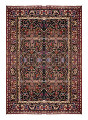 "TURKISH TRANSITIONAL HAND-KNOTTED RUG MADE WITH NATURAL WOOL & COTTON COLOR GREEN 11'8"" X 8'10"" ABC 712"