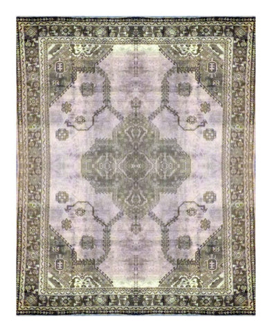 "TURKISH OUSHAK HAND-KNOTTED RUG MADE WITH NATURAL WOOL & COTTON COLOR BEIGE 13' X 9'9"" ABC 455"