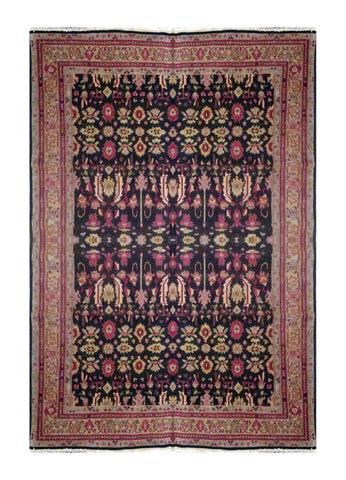 "TURKISH TRANSITIONAL HAND-KNOTTED RUG MADE WITH NATURAL WOOL & COTTON COLOR BROWN 11'10 X 8'4"" ABC 714"