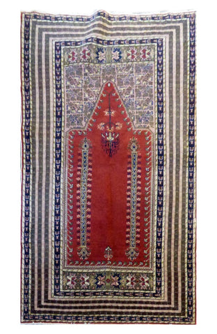 "TURKISH GHOM HAND-KNOTTED RUG MADE WITH NATURAL WOOL & COTTON COLOR RED 5'1"" X 3'10"" ABC 0"