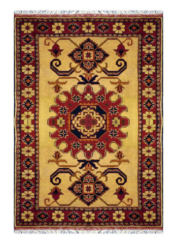 "PAKISTANI TRADITIONAL HAND-KNOTTED RUG MADE WITH NATURAL WOOL & COTTON COLOR MULTI 5'10"" X 3'6"" ABC 4513"