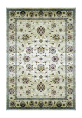 "PAKISTANI TRANSITIONAL HAND-KNOTTED RUG MADE WITH NATURAL WOOL & COTTON COLOR ANTIQUE WASH 7'9"" X 5'6"" ABC 1786"