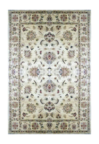 "PAKISTANI PESHAWAR HAND-KNOTTED RUG MADE WITH NATURAL WOOL & COTTON COLOR BEIGE 8'9"" X 5'11"" ABC ABC101"