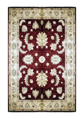 "PAKISTANI TRANSITIONAL HAND-KNOTTED RUG MADE WITH NATURAL WOOL & COTTON COLOR ANTIQUE WASH 5' X 6'7"" ABC 1703"