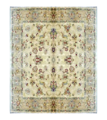 "PAKISTANI TRANSITIONAL HAND-KNOTTED RUG MADE WITH NATURAL WOOL & COTTON COLOR ANTIQUE WASH 6'8"" X 6'05"" ABC 1713"