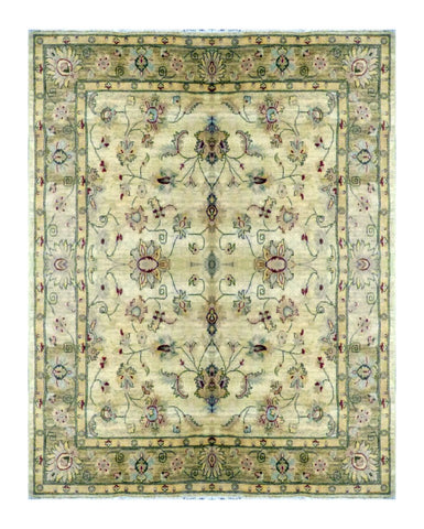 "PAKISTANI TRANSITIONAL HAND-KNOTTED RUG MADE WITH NATURAL WOOL & COTTON COLOR ANTIQUE WASH 6'06"" X 6'06"" ABC 1805"