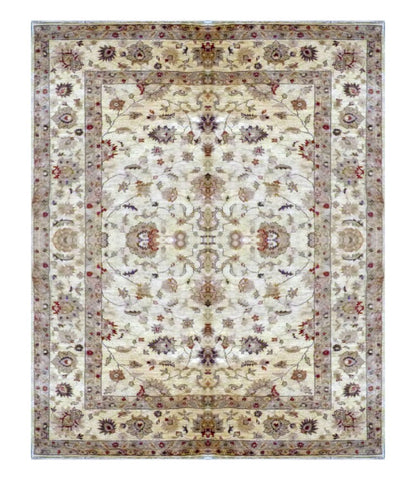 "PAKISTANI TRANSITIONAL HAND-KNOTTED RUG MADE WITH NATURAL WOOL & COTTON COLOR ANTIQUE WASH 8'10"" X 6' ABC 1747"