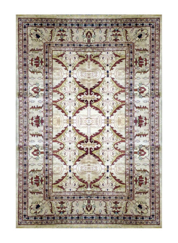 "PAKISTANI TRADITIONAL HAND-KNOTTED RUG MADE WITH NATURAL WOOL & COTTON COLOR MULTI 8'9"" X 6'8"" ABC 4510"