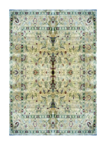 "PAKISTANI TRANSITIONAL HAND-KNOTTED RUG MADE WITH NATURAL WOOL & COTTON COLOR ANTIQUE WASH 5'0"" X 5'0"" ABC 1841"