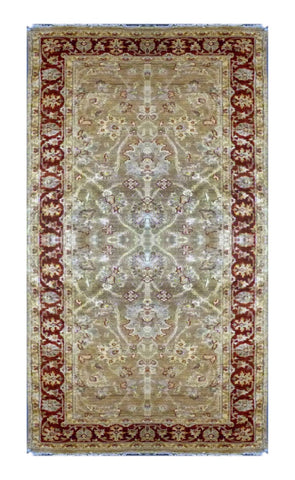 "PAKISTANI PESHAWAR HAND-KNOTTED RUG MADE WITH NATURAL WOOL & COTTON COLOR BEIGE 9'4"" X 4' ABC 10528"