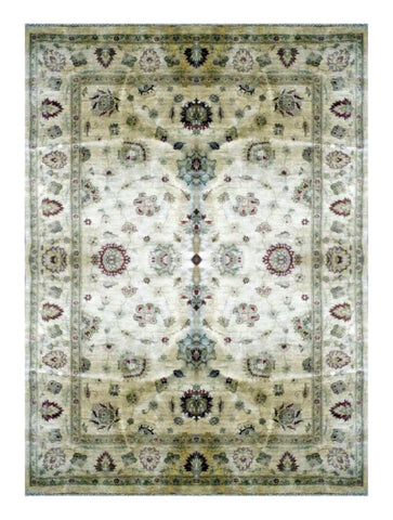 "PAKISTANI OUSHAK HAND-KNOTTED RUG MADE WITH NATURAL WOOL & COTTON COLOR BEIGE 7'8"" X 5'11"" ABC 0"