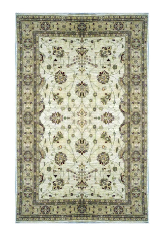 "PAKISTANI TRANSITIONAL HAND-KNOTTED RUG MADE WITH NATURAL WOOL & COTTON COLOR ANTIQUE WASH 9' X 6'1"" ABC 1766"