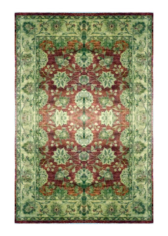 "PAKISTANI OUSHAK HAND-KNOTTED RUG MADE WITH NATURAL WOOL & COTTON COLOR RED 8'9"" X 6'3"" ABC 0"