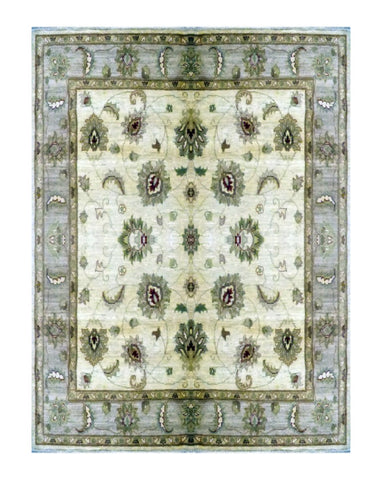 "TURKISH TRANSITIONAL HAND-KNOTTED RUG MADE WITH NATURAL WOOL & COTTON COLOR MULTI 10'4"" X 8'2"" ABC 2966"